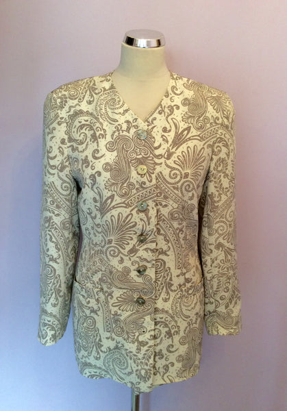 Alexon Beige & Ivory Print Occasion Jacket Size 10 - Whispers Dress Agency - Womens Suits & Tailoring - 1