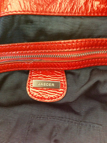 Brand New Jaeger Red Patent Leather Large Shoulder Bag - Whispers Dress Agency - Sold - 6