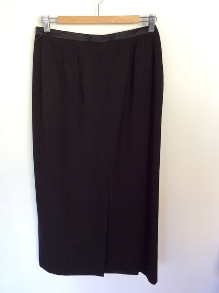 BARCLAY BLACK WRAP AROUND CALF LENGTH SKIRT SIZE 12 - Whispers Dress Agency - Womens Skirts - 1