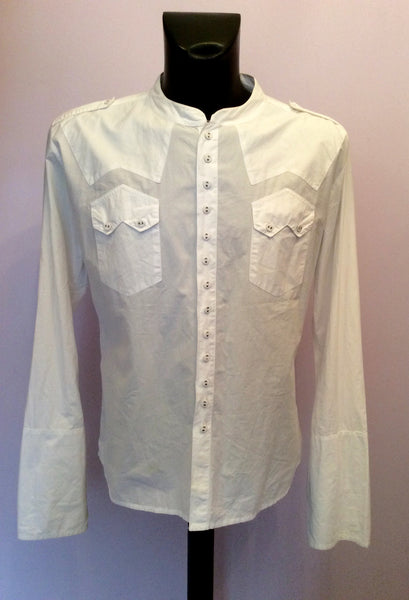 ALL SAINTS WHITE COTTON COLLARLESS SHIRT SIZE XL - Whispers Dress Agency - Sold - 1