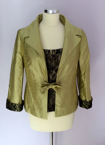 image_7525bdd9 a3ba 49b4 842c 4c5120f16ed8_grande?v=1453121757 gold by michael h, lime green & black lace trim top & silk jacket,Michael H Womens Clothing