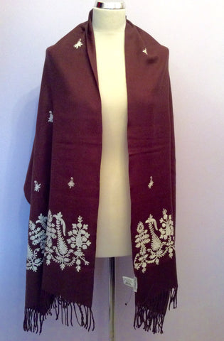 Brand New Planet Dark Brown & White Embroidered Wool Wrap / Shawl One Size - Whispers Dress Agency - Womens Scarves & Wraps - 1
