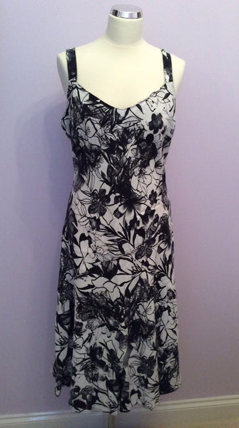 Per Una Black & White Floral Print Linen Dress Size 14 - Whispers Dress Agency - Womens Dresses - 1