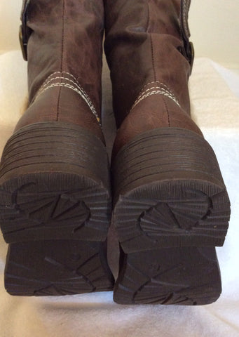 Brand New Cats Eyes Dark Brown Buckle Trim Boots Size 6/39 - Whispers Dress Agency - Womens Boots - 4