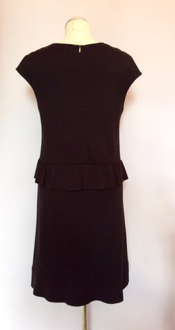 Joseph Black Wool Peplum Waist Dress Size 38 UK 10 - Whispers Dress Agency - Sold - 3