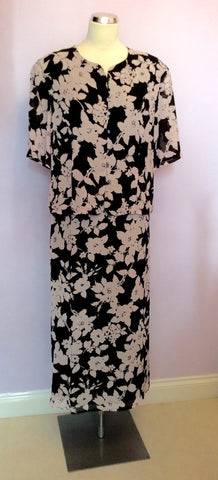 Vintage Jaeger Black & Pink Floral Print Top & Skirt Size 18 - Whispers Dress Agency - Womens Vintage - 1