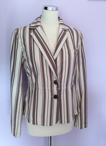Armani Jeans Cream & Brown Stripe Jacket Size 14 - Whispers Dress Agency - Womens Coats & Jackets - 1