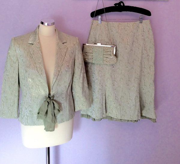 MINOSA LIGHT GREEN JACKET & SKIRT SUIT WITH MATCHING BAG SIZE 12 PETITE - Whispers Dress Agency - Womens Suits & Tailoring - 1