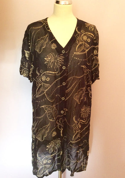 Jacques Vert Black & Beige Floral Print Long Shirt Size 18 - Whispers Dress Agency - Womens Shirts & Blouses - 1