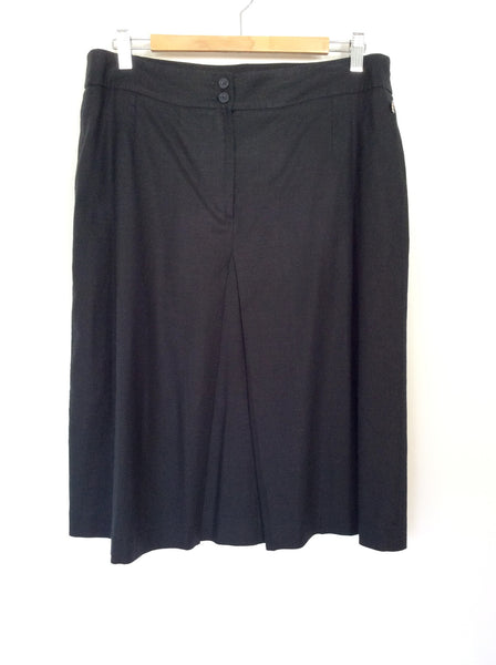 AQUASCUTUM BLACK LINEN BLEND PLEATED FRONT SKIRT SIZE 14 - Whispers Dress Agency - Womens Skirts - 1
