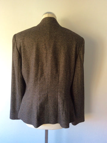KALIKO BROWN MARL WOOL BLEND JACKET SIZE 18 - Whispers Dress Agency - Women suits & Tailoring - 2