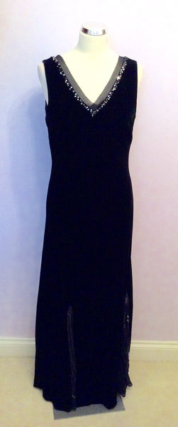 Austin Reed Black Velvet Long Evening Dress Size 14 Whispers Dress Agency