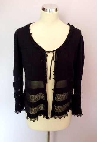 St Ambecco Black Tie Front Cardigan Size L - Whispers Dress Agency - Womens Knitwear - 1