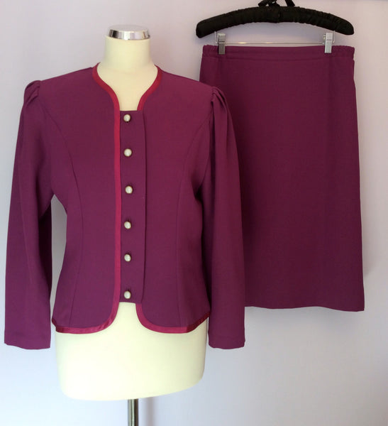Berkertex Dark Pink Skirt & Jacket / Top Suit Size 12 - Whispers Dress Agency - Sold - 1