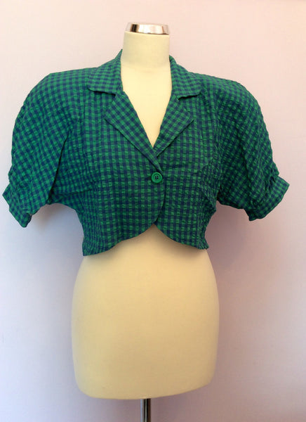 Vintage United Colours Of Benetton Blue & Green Check Crop Jacket Size 42 UK 10 - Whispers Dress Agency - Sold - 1