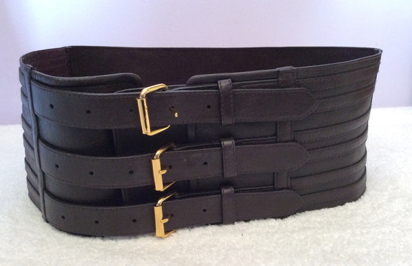 Brand New Armani Exchange Dark Brown Leather & Elasticated Wide Belt Size M/L - Whispers Dress Agency - Sold - 1