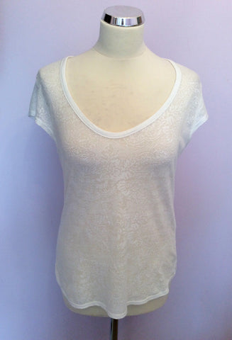 REISS WHITE LACE PRINT SCOOP NECK CAP SLEEVE TOP SIZE M - Whispers Dress Agency - Womens T-Shirts & Vests - 1
