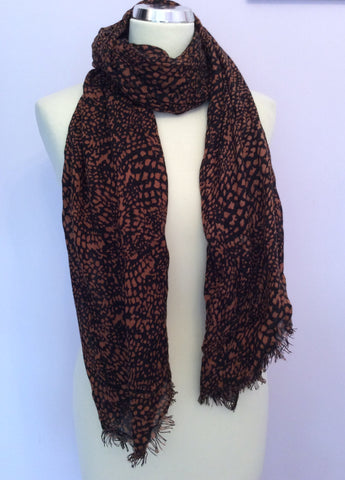 Whistles Brown & Black Print Scarf / Wrap - Whispers Dress Agency - Womens Scarves & Wraps