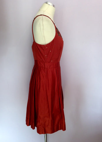 Brand New Monsoon Orange Beaded & Sequin Trim Cotton Dress Size 14 - Whispers Dress Agency - Womens Dresses - 3