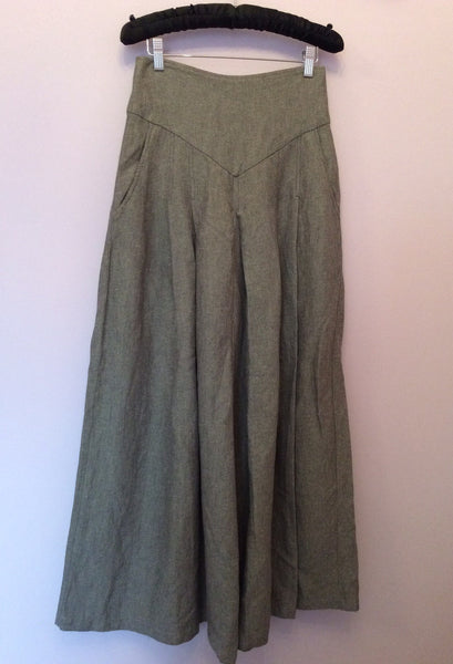 SMART PAGEN POETRY GREY PINSTRIPE WOOL V WIDE LEG TROUSERS SIZE 0  UK 6 - Whispers Dress Agency - Womens Trousers - 1