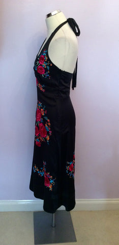 BRAND NEW MONSOON BLACK SILK EMBROIDERED HALTERNECK DRESS SIZE 8 - Whispers Dress Agency - Womens Dresses - 3