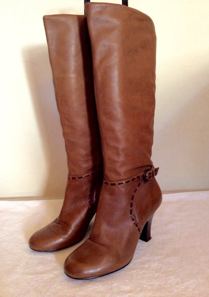 Dune Tan Brown Stitch Trim Boots Size 4/37 - Whispers Dress Agency - Sold - 1