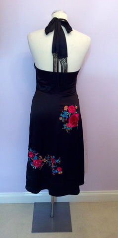 BRAND NEW MONSOON BLACK SILK EMBROIDERED HALTERNECK DRESS SIZE 8 - Whispers Dress Agency - Womens Dresses - 4