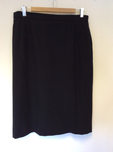 AQUASCUTUM BLACK WOOL PENCIL SKIRT SIZE 16 - Whispers Dress Agency - Sold - 1