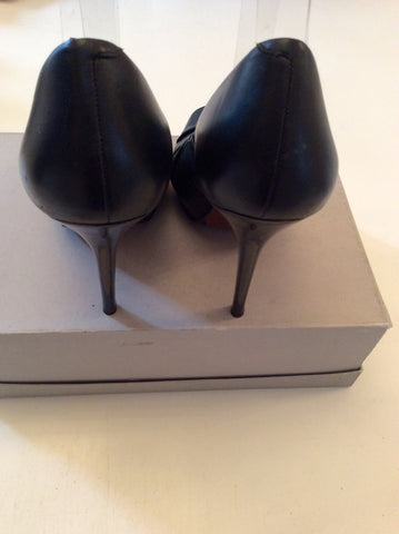 ALL SAINTS BLACK LEATHER PEEPTOE HEELS SIZE 6/39 - Whispers Dress Agency - Womens Heels - 4