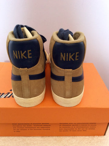 Brand New Nike Beige & Blue Suede Blazer Filbert Mid Trainer Boots Size 4/37 - Whispers Dress Agency - Womens Trainers & Plimsolls - 4