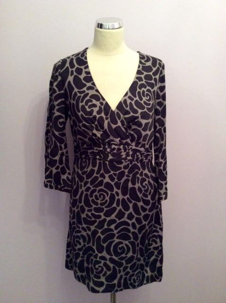 Boden Brown Print V Neck Dress Size 10R - Whispers Dress Agency - Sold - 1