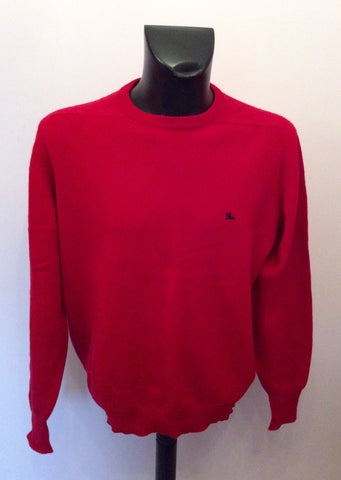 "BURBERRY RED LAMBSWOOL CREW NECK JUMPER SIZE 44"" UK L/XL - Whispers Dress Agency - Mens Knitwear - 1"