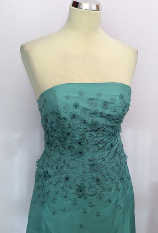 Brand New Monsoon Duck Egg Silk Strapless / Strappy Dress Size 8 - Whispers Dress Agency - Womens Dresses - 2