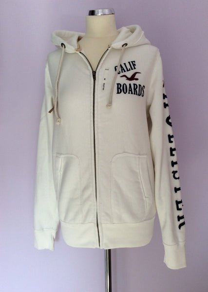 Brand New Hollister White Hooded Sweatshirt Top Size Medium - Whispers Dress Agency - Sold - 1