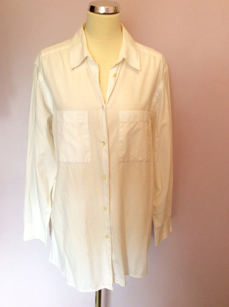 Vintage Jaeger White Cotton Shirt Size XL - Whispers Dress Agency - Sold - 1