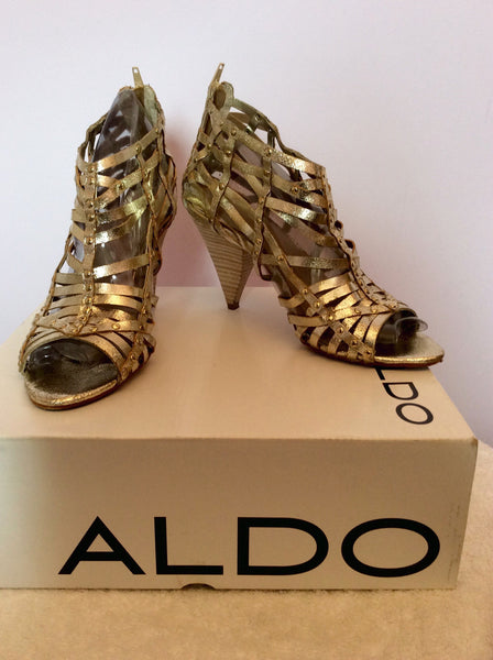 Aldo 'Surran' Gold Strappy Leather Peeptoe Heels Size 7/40 - Whispers Dress Agency - Sold - 1