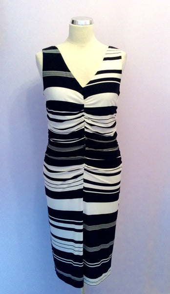 Phase Eight Black & White Stripe Dress Size 12 - Whispers Dress Agency - Sold - 1