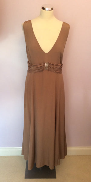 free shipping new products 100% top quality Kaliko Light Brown Long Evening Dress Size 18