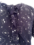 "Vintage Jaeger Dark Blue Print Blouse Size 36"" Approx 12/14 - Whispers Dress Agency - Sold - 2"