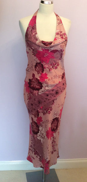 Brand New Matthew Williamson Mauve Floral Print Silk Halterneck Dress Size 10 - Whispers Dress Agency - Womens Dresses - 1