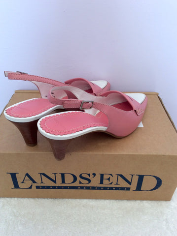 Brand New Landsend Pink & White Leather Slingback Heels Size 6/39 - Whispers Dress Agency - Womens Heels - 3
