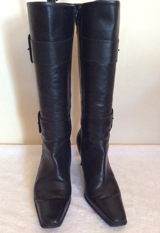 Bata Black Leather Buckle Trim Boots Size 5/38 - Whispers Dress Agency - Womens Boots - 3