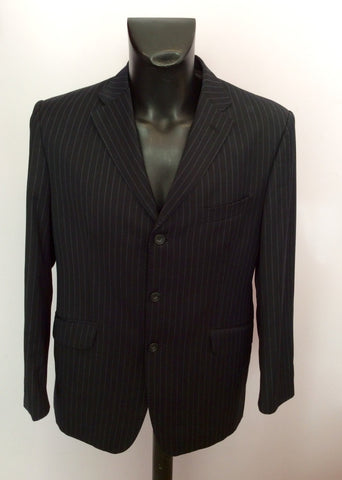 Marks & Spencer Sartorial Navy Blue Pinstripe Suit Size 40S/ 34W - Whispers Dress Agency - Mens Suits & Tailoring - 2