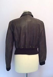 Aviatrix Dark Brown Leather Zip Up Jacket Size L - Whispers Dress Agency - Womens Coats & Jackets - 3
