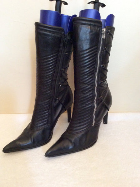 Faith Black Leather Calf Length Boots Size 8/42 - Whispers Dress Agency - Womens Boots - 1