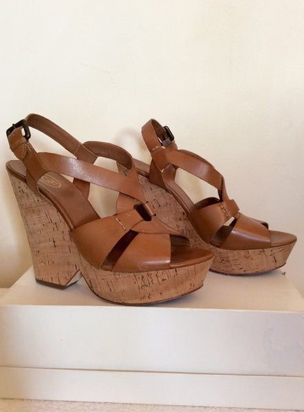 Ash Tan Leather Platform Wedge Heel Sandals Size 6/39 - Whispers Dress Agency - Womens Sandals - 1