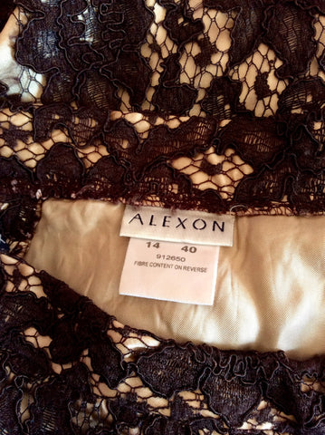 ALEXON BROWN LACE CALF LENGTH SKIRT SIZE 14 FITS UK 12 - Whispers Dress Agency - Womens Skirts - 2