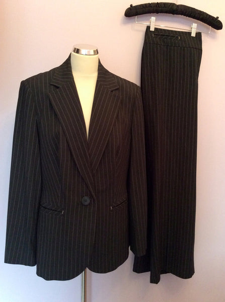 Marks & Spencer Charcoal Grey Pinstripe Trouser Suit Size 16/18 - Whispers Dress Agency - Sold - 1