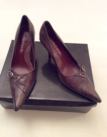 Brand New Moda In Pelle Brown Leather Heels Size 4/37 - Whispers Dress Agency - Womens Heels - 1