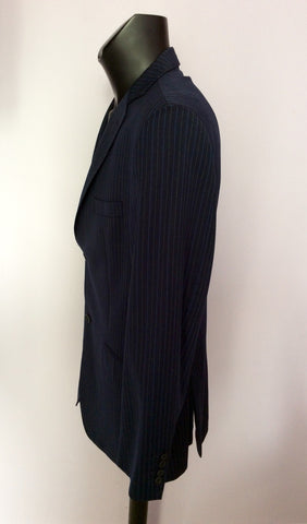 Ted Baker Endurance Navy Blue Pinstripe Wool Suit Size 42/34W - Whispers Dress Agency - Mens Suits & Tailoring - 3